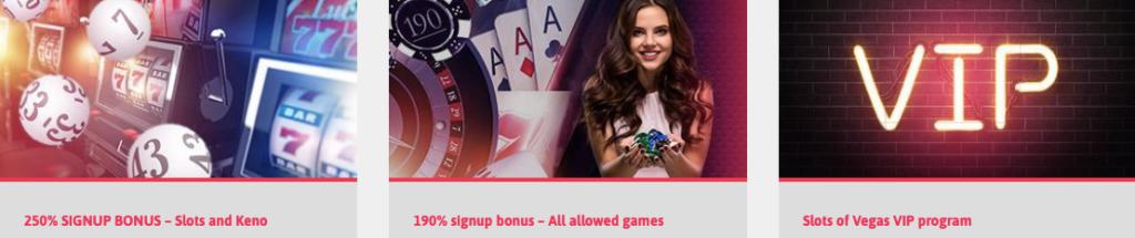Bonuses (VIP program, 190% welcome bonus, 250% welcome bonus)