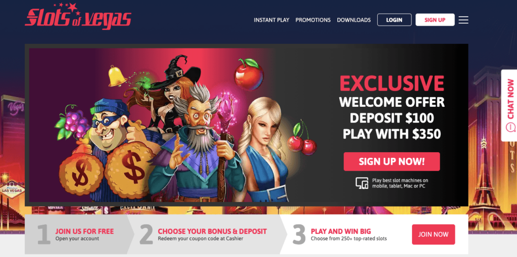 Website Slot Of Vegas online casino, official website, great design